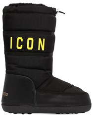 Dsquared 20Mm Icon Nylon And Leather Snow Boots Black
