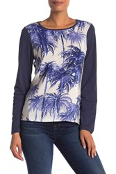 Tommy Bahama Palms Long Sleeve Front Crew Neck Shirt Ocean Deep
