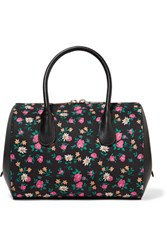 Nina Ricci Extra Small Floral Print Canvas And Leather Tote Black