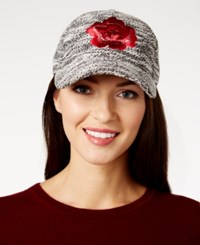 August Hats Floral Embroidered Boucle Baseball Cap Black Multi
