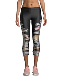 Terez Printed Metallic Capri Performance Leggings Black