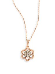 Kc Designs White Diamond Champagne Diamond And 14K Rose Gold Floral Pendant Necklace