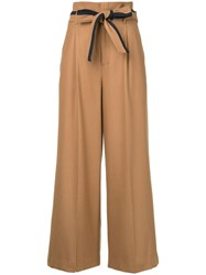 Loveless Belted Wide Leg Trousers Brown