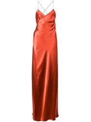 Michelle Mason Strappy Wrap Gown Red