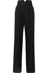 Red Valentino Redvalentino Belted Grain De Poudre Wide Leg Pants Black