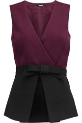 Raoul Vera Wrap Effect Crepe Top Burgundy