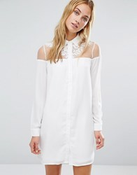 Fashion Union Dress With Sheer Top Panel And Collar White