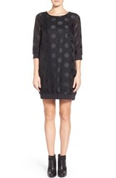 Women's Kensie Dot Print Mesh Jacquard Shift Dress
