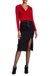 Laundry By Shelli Segal Pencil Skirt With Tassel Belt Black