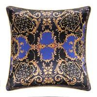 Roberto Cavalli Gold Flowers Silk Cushion Blue 60X60cm