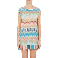 Zigzag Knit Cover Up Dress Blue