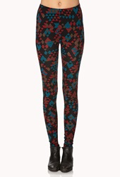 Forever 21 Geo Print Leggings Black Red