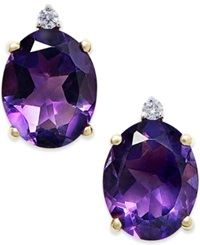 Macy's Amethyst 4 1 2 Ct. T.W. And Diamond Accent Stud Earrings In 14K Gold