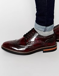 Base London Woburn Hi Shine Leather Brogues Red