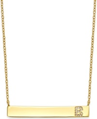 Studio Silver Bar Necklace With Cubic Zirconia Initial In 18K Gold Over Sterling Silver Gold B