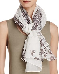 Fraas Perforated Floral Scarf Off White Multi