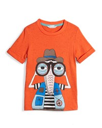 Little Marc Jacobs Crocodile Cotton Blend Jersey Tee Orange