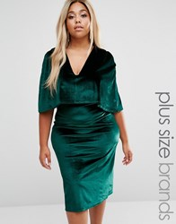 Club L Plus Cape Velvet Midi Dress Green