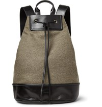Dries Van Noten Leather Trimmed Felted Wool Blend Backpack Beige