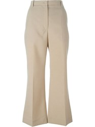 Nina Ricci Cropped Flared Trousers Nude And Neutrals