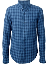 Band Of Outsiders Button Down Checked Shirt Blue