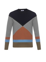 Valentino Colour Block Crew Neck Knit Sweater