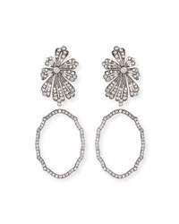 Lulu Frost Camellia Crystal Flower Earrings Silver