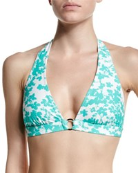 Shoshanna Floral Print Center Ring Halter Swim Top Mint White