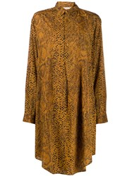 Mes Demoiselles Snakeskin Effect Long Shirt Brown