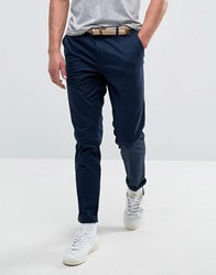 Pull And Bear Pullandbear Slim Chinos With Belt In Navy Navy