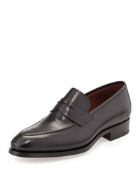 Neiman Marcus Almond Toe Penny Loafer Black