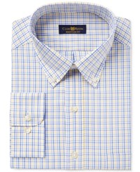 Club Room Men's Classic Regular Fit Estate Wrinkle Resistant Yellow Blue Triple Check Dress Shirt Only At Macy's