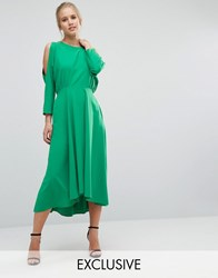 Closet London Cold Shoulder Long Sleeve Dress Green