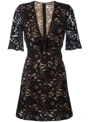 Saint Laurent Floral Lace Cocktail Dress Black