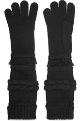 Agnona Paneled Wool And Cashmere Blend Gloves Black