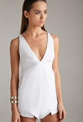 Forever 21 Blessed Are The Meek Angular Cutout Romper Ivory