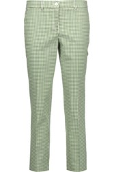 Michael Kors Collection Gingham Stretch Cotton Skinny Pants Green