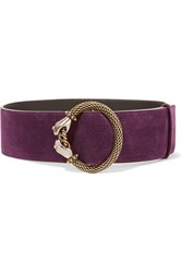 Lanvin Embellished Suede Waist Belt Purple