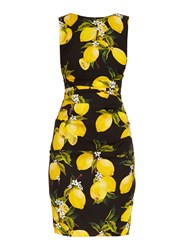 Dolce And Gabbana Lemon Print Ruched Silk Dress