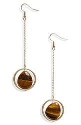 Leith Tiger's Eye Drop Earrings Gold Stone