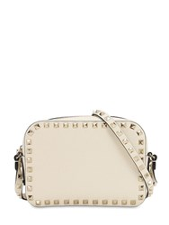 Valentino Rockstud Leather Camera Bag Light Ivory