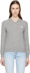 Comme Des Garcons Play Grey Heart Patch V Neck Sweater