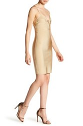 Wow Couture Sleeveless Sweetheart Bodycon Dress Beige