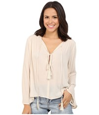 Brigitte Bailey Iris Long Sleeve Top With Tassels Tan Women's Clothing