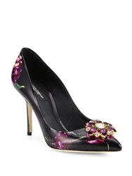 Dolce And Gabbana Viola Jeweled Tulip Print Leather Point Toe Pumps Black Multi