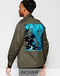 Reclaimed Vintage Reclaimed Military Jacket With Dragon Silk Panel Green
