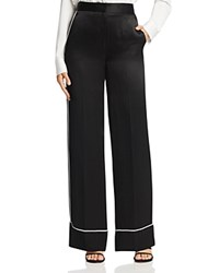 Dkny Contrast Piped Wide Leg Pants Black