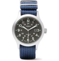 Timex Allied Stainless Steel And Nylon Webbing Watch Navy