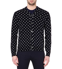 Comme Des Garcons Polka Dot Knitted Cardigan Navy