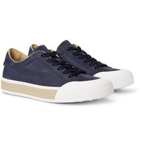 Tod's Raffia Trimmed Nubuck Sneakers Navy